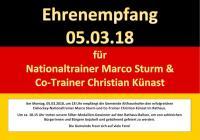 Eishockey-Nationaltrainer Marco Sturm und Co-Trainer Christian Künast werden im Rathaus empfangen.