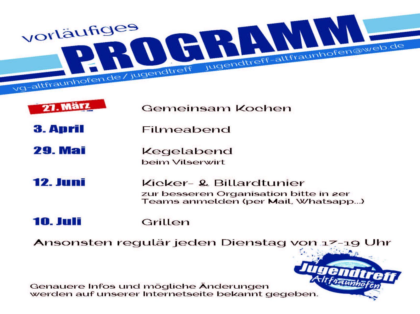Programm Jugendtreff